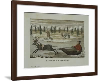 Laplanders and Reindeer, Lapland 19th Century--Framed Giclee Print