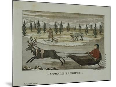 Laplanders and Reindeer, Lapland 19th Century--Mounted Giclee Print