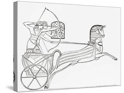 Egyptian War Chariot, from the Imperial Bible Dictionary, Published 1889--Stretched Canvas Print
