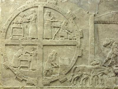 Interior of Fortified Enclosure, Detail from Relief from Nimrud, Iraq, 9th Century BC--Framed Giclee Print