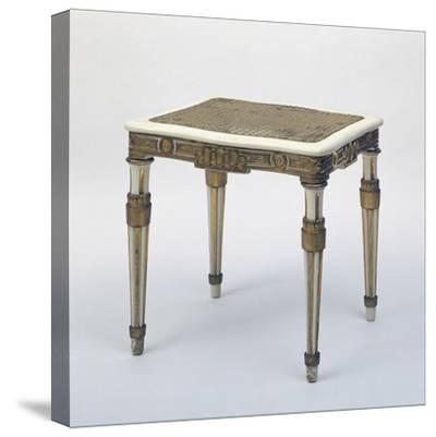 Carved and Gilded Stool, Wicker Seat, Austria--Stretched Canvas Print