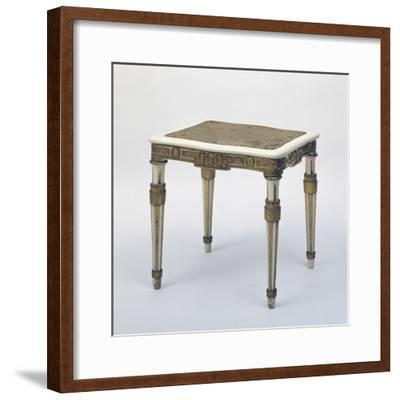 Carved and Gilded Stool, Wicker Seat, Austria--Framed Giclee Print