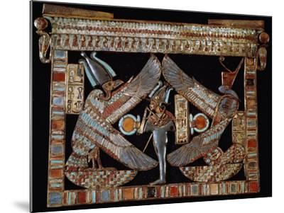 Breastplate with Isis, Osiris and Nephthys, Gold and Lapis Lazuli, from Tomb of Tutankhamun--Mounted Giclee Print