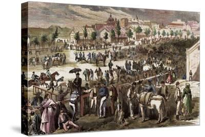 Spain, Madrid, 19th Century, Cattle Market on the Outskirts of the Toledo's Gate--Stretched Canvas Print