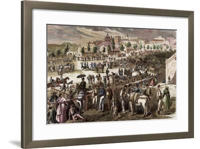 Spain, Madrid, 19th Century, Cattle Market on the Outskirts of the Toledo's Gate--Framed Giclee Print