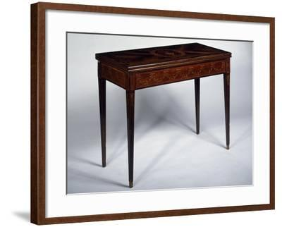 Rosewood Games Table with Inlays, Medallions and Garlands, Spain--Framed Giclee Print