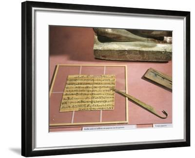 Letter Written on Papyrus and Copper Papyrus Knife--Framed Giclee Print