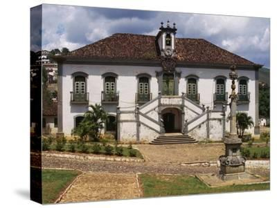 18th Century Facade with Double Staircase of Casa Da Camara and Barracks in Mariana--Stretched Canvas Print