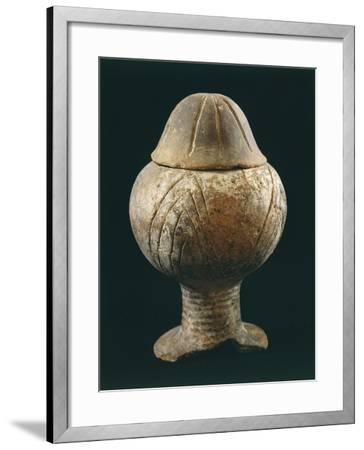 Decorated Terracotta Vase with Lid--Framed Giclee Print