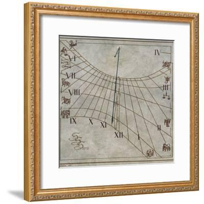 Sundial on Wall of House in Contignano, Val D'Orcia, Tuscany, Italy--Framed Giclee Print