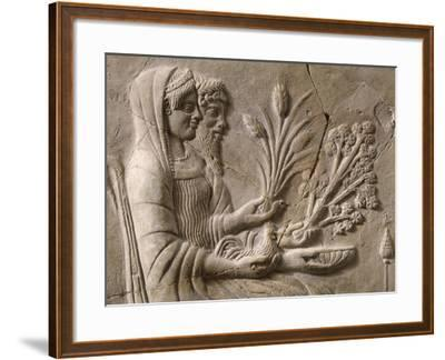 Italy, Calabria, Locri, Pinax Depicting Persephone and Pluto Sitting, Terracotta--Framed Giclee Print