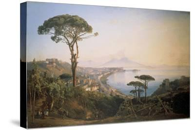 Italy, View of Naples from Posillipo Hill by Ercole Gigante--Stretched Canvas Print