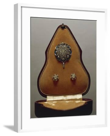 Enameled Gold and Diamonds Pendant and Earrings, with Case.--Framed Giclee Print