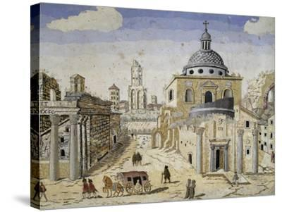 View of the Roman Forum, End of 17th Century, Scagliola on Terracotta Support, Detail--Stretched Canvas Print