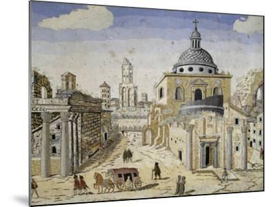 View of the Roman Forum, End of 17th Century, Scagliola on Terracotta Support, Detail--Mounted Giclee Print
