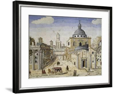 View of the Roman Forum, End of 17th Century, Scagliola on Terracotta Support, Detail--Framed Giclee Print