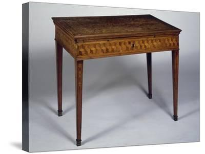 Neoclassical Style Writing Desk with Geometric Inlays and Sliding Top, Ca 1780, Germany--Stretched Canvas Print