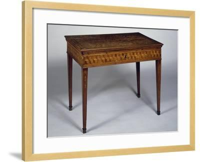 Neoclassical Style Writing Desk with Geometric Inlays and Sliding Top, Ca 1780, Germany--Framed Giclee Print