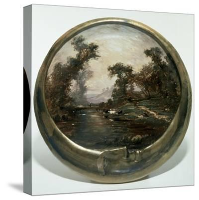 Moon-Shaped Plate with Landscape, 1890, Ceramics--Stretched Canvas Print