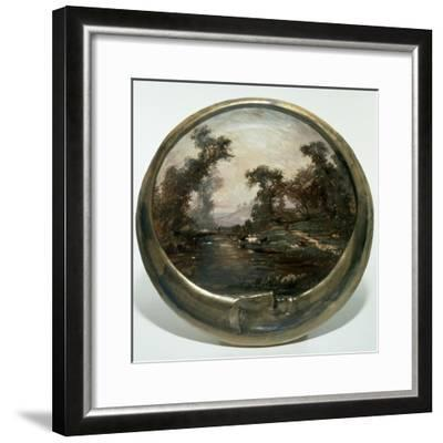 Moon-Shaped Plate with Landscape, 1890, Ceramics--Framed Giclee Print