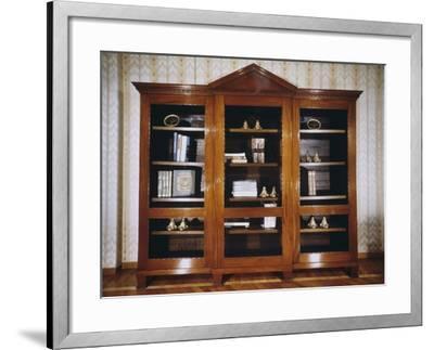 Oak Bookcase with Mahogany Veneer Finish, Circa 1790, France--Framed Giclee Print