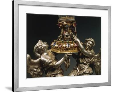 Rock Crystal Glass Mounted in Enamelled Gold, Supported by Two Silver Figures of Angels--Framed Giclee Print