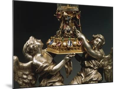 Rock Crystal Glass Mounted in Enamelled Gold, Supported by Two Silver Figures of Angels--Mounted Giclee Print