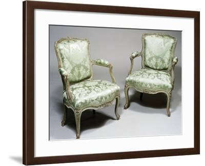 Pair of Louis XV Style Carved Wood and Lacquer Armchairs, One Stamped Reuze and Other L Cresson--Framed Giclee Print