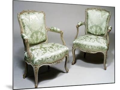 Pair of Louis XV Style Carved Wood and Lacquer Armchairs, One Stamped Reuze and Other L Cresson--Mounted Giclee Print