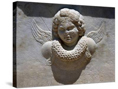 Relief of Eros' Bust, Found in Bathrooms of Theatre of Aphrodisias, Turkey--Stretched Canvas Print