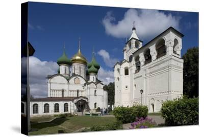Russia, Suzdal, Transfiguration Cathedral and Gabled Belfry--Stretched Canvas Print