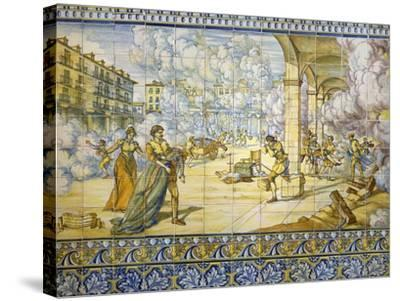 Fire of Valladolid, September 21, 1561, Painted Talavera Tiles--Stretched Canvas Print