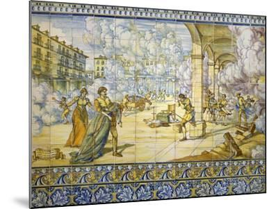 Fire of Valladolid, September 21, 1561, Painted Talavera Tiles--Mounted Giclee Print