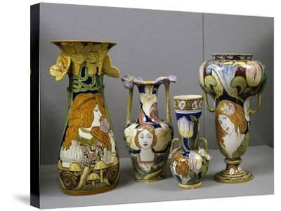 Art Nouveau Vases Decorated with Female Figures and Stylized Plant Motifs, Majolica, Italy--Stretched Canvas Print