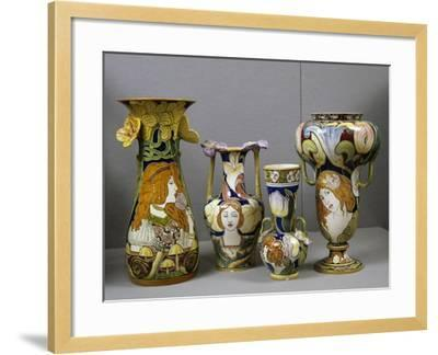 Art Nouveau Vases Decorated with Female Figures and Stylized Plant Motifs, Majolica, Italy--Framed Giclee Print