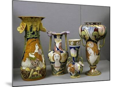 Art Nouveau Vases Decorated with Female Figures and Stylized Plant Motifs, Majolica, Italy--Mounted Giclee Print