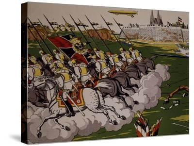 Retreat of Prussian in Face of Cossacks, 1914, Lubok, Detail, World War I, Russia--Stretched Canvas Print