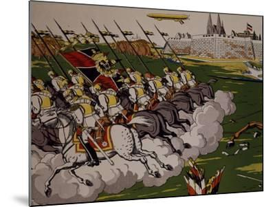Retreat of Prussian in Face of Cossacks, 1914, Lubok, Detail, World War I, Russia--Mounted Giclee Print