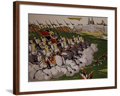 Retreat of Prussian in Face of Cossacks, 1914, Lubok, Detail, World War I, Russia--Framed Giclee Print