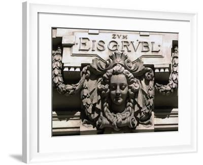 Sculptural Decoration of Building with Inscription Zum Eisgruebl, Vienna, Austria--Framed Giclee Print