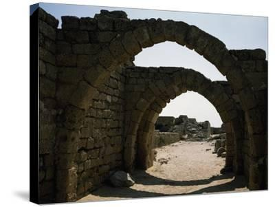 Arches in Citadel of Crusader Period, Caesarea, Israel--Stretched Canvas Print