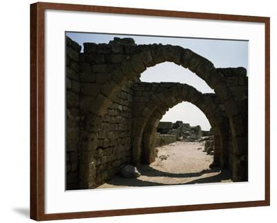 Arches in Citadel of Crusader Period, Caesarea, Israel--Framed Giclee Print