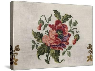 Tea Tablecloth, Embroidered in Cross-Stitch on Linen, Depicting Bunch of Poppies, 1800--Stretched Canvas Print