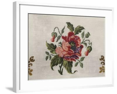 Tea Tablecloth, Embroidered in Cross-Stitch on Linen, Depicting Bunch of Poppies, 1800--Framed Giclee Print
