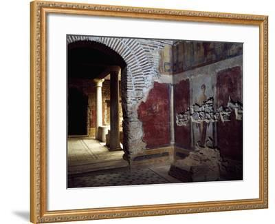 View of Interior Showing Remains of Fresco in Roman House on Mount Koressos, Ephesus, Turkey--Framed Giclee Print