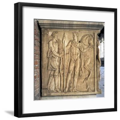 Ephebos and Horse, Detail of Reliefs from Sarcophagus in Rectangular Case--Framed Giclee Print