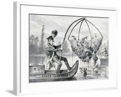 Come Here Fresh Water Fish or More Correctly Policeman Lanza Fishing, Satirical Cartoon, Italy--Framed Giclee Print