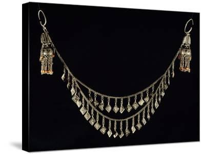 Necklace and Earrings in Wrought Silver and Coral, Uzbekistan--Stretched Canvas Print