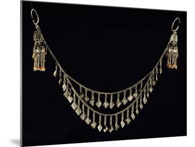 Necklace and Earrings in Wrought Silver and Coral, Uzbekistan--Mounted Giclee Print