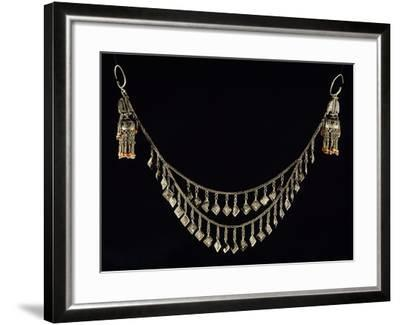 Necklace and Earrings in Wrought Silver and Coral, Uzbekistan--Framed Giclee Print